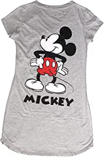 Classic Mickey Mouse Nightie T Shirt - Mickey Front and Back- Grey