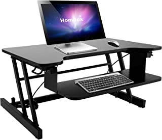 Binxin Height Adjustable Standing Desk Converter, Sit Stand Desk Riser, Computer Workstation Supports up to 50 lbs (Black)