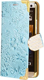 iCues | Compatible with HTC One M7 | Chrome Flower Wallet Light Blue | [Screen Protector Included] Floral Folio Flip Case Crystal Diamond Rhinestone Bling Glitter Women Girl
