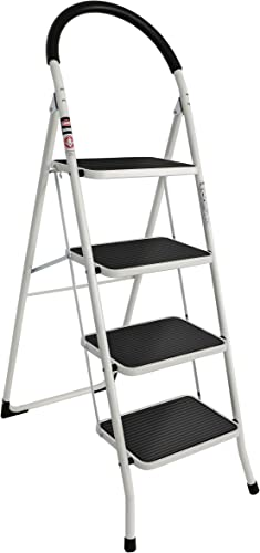 lowest EFINE outlet online sale 4 Step Ladder, Folding new arrival Step Stool Big Soft Handrail and Widened Pedal, High Grade Steel with Smooth Powder Coating, Sturdy and Lightwight, Holding up to 330lbs. outlet sale