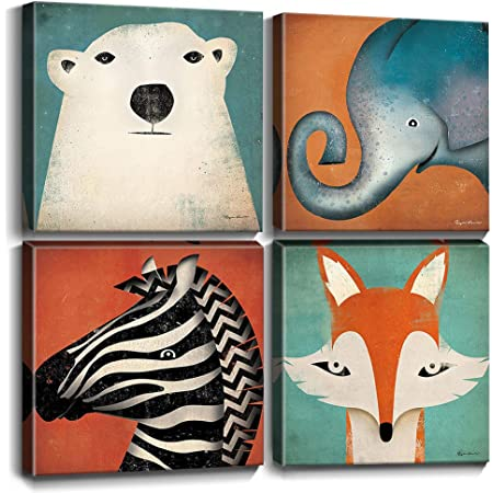 Amazon Com Animal Canvas Toddler Kids Wall Decor Fox Elephant Bear Decorations Framed Art Painting Pictures For Nursery Room Modern Prints Cartoon Animals Funny Cute Zebra Artwork Bedroom Bathroom 12x12 4pcs Posters