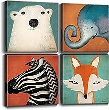 Toddler Wall Decor Cartoon Animals Canvas Prints Wall Art for Kids Room Home Decoration Cute Polar Bear Elephant Fox Zebra Painting Pictures Framed Artwork Bedroom Bathroom Nursery Set 12