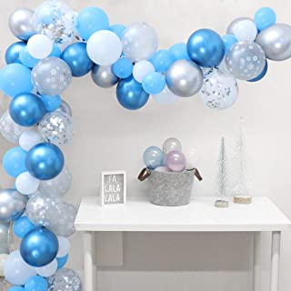Snowflake Balloon Garland Arch Kit Winter Wonderland Party Decorations Silver and Blue for Boy 1st Birthday Baby Its Cold Outside Baby Shower