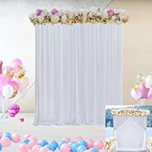 White Tulle Decorative Backdrop Curtain for Parties Weddings Baby Shower Engagement Decoration Two Layers Background Curtains for Photography Birthday Party Studio Prom Decor 5 ft X 7 ft