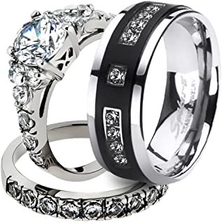 Marimor Jewelry His & Her Stainless Steel 2.50 Ct Cz Bridal Set & Men`s Titanium Wedding Band