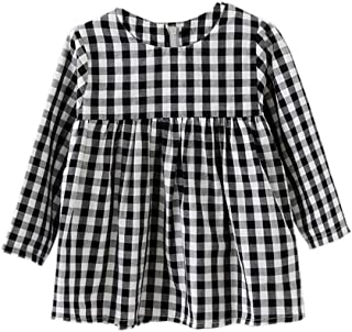 Little Kids Baby Girls Long Sleeve Dress White and Black Plaid Tunic Dress