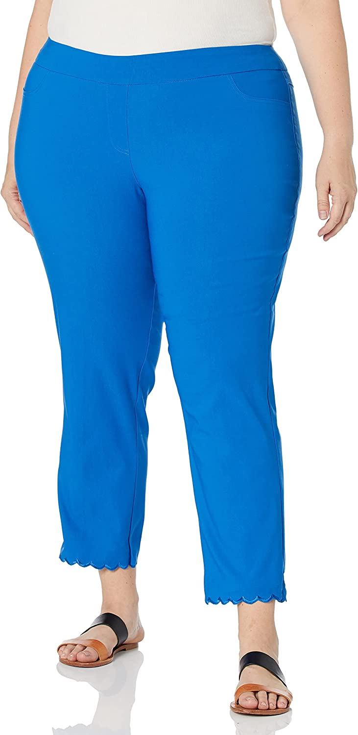 SLIM-SATION Women's Plus Size Wide Band Pull on Solid Crop with Front & Back Pockets-Scallop Hem