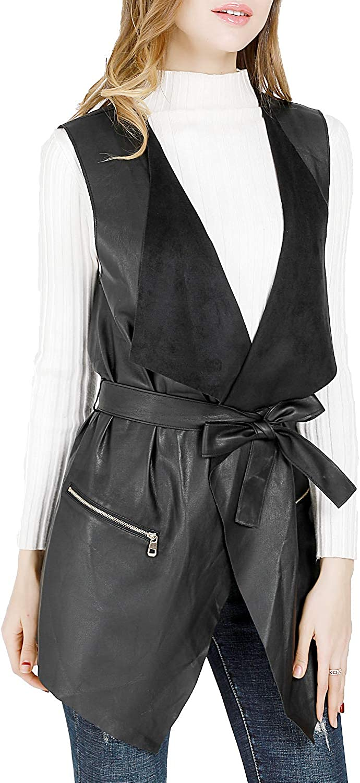 Arlington Mall DIASHINY Women's Lapel Reservation Sleeveless Faux Drape Long Leather Vests
