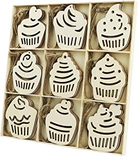 MACTING 27pcs Unfinished Wooden Cupcake Shape Ornaments with Holes, Rustic Baby Shower Party Favors Hanging Decorations, Unfinished Wood for Craft (27pcs Cakes)
