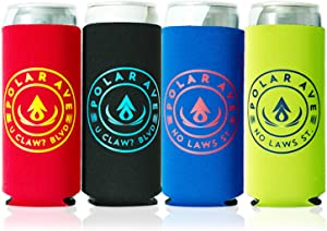 White Claw Slim Can Cooler Coolie Sleeve for Skinny Tall Slim Chiller Cans Drinks Iced Coffee - Insulated Skinny Coozies Can Holder Covers, 12, 16, 24 oz - Neoprene (4 Pack with sayings)
