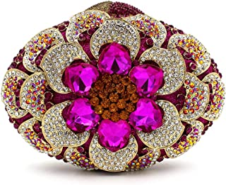 FengheYQ Women's Evening Bag Luxury Diamond Pattern Round Metal Chain Shoulder Tote Gold Pu Wallet Wedding Bride Dress Bridesmaid Gift Clutch 20.5 * 6 * 14cm (Color : Pink)