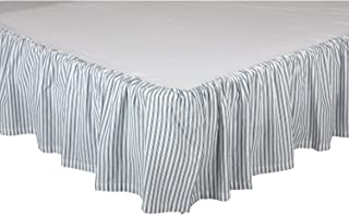 VHC Brands Farmhouse Sawyer Mill Ticking Cotton Split Corners Gathered Striped Queen Bed Skirt, Blue Denim