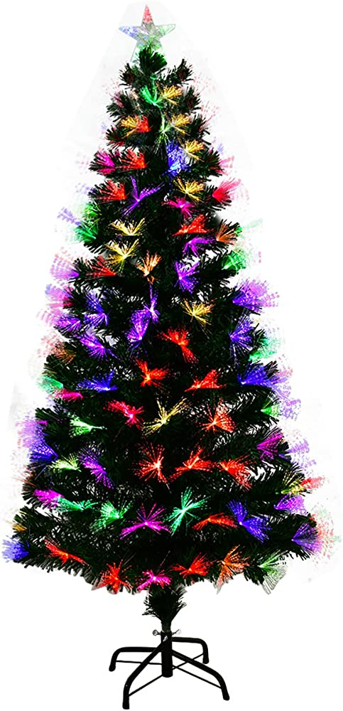 goplus albero di natale verde pvc con decorazioni neve e stella di natale led,con luci colorate a fibre ottich