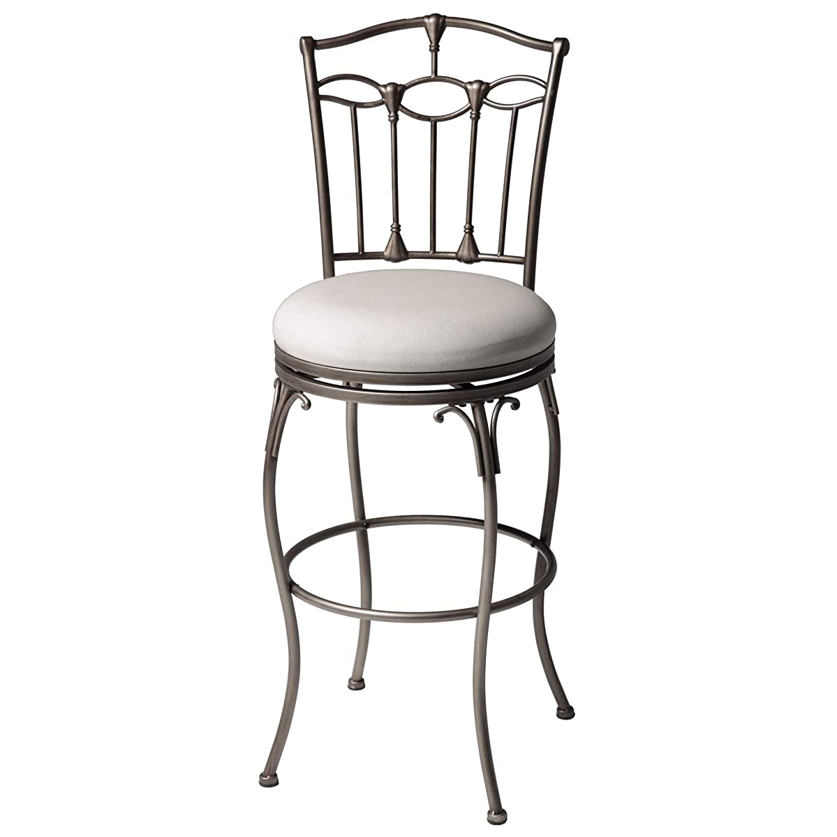 Leggett & Platt Concord Swivel Seat Bar Stool with Brushed Bronze Finished Metal Frame, Detailed Seatback and Linen Upholstery, 30-Inch Seat Height
