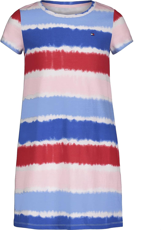 Tommy Hilfiger Girls' Short Sleeve T-Shirt Dress, 100% Cotton, Crewneck & Flounce Waist, Pull-on Style
