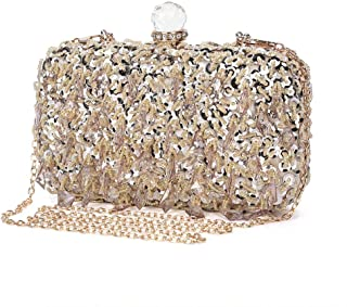 Women Wedding Clutch Rhinestone Bling Sequin Evening Bags Vintage Crystal Beaded Cocktail Party Party Purse