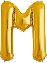 "The golden store 16"" Alphabet Letter Shape Golden foil Balloon (M Letter) for marriege Anniversary Party Decorations"