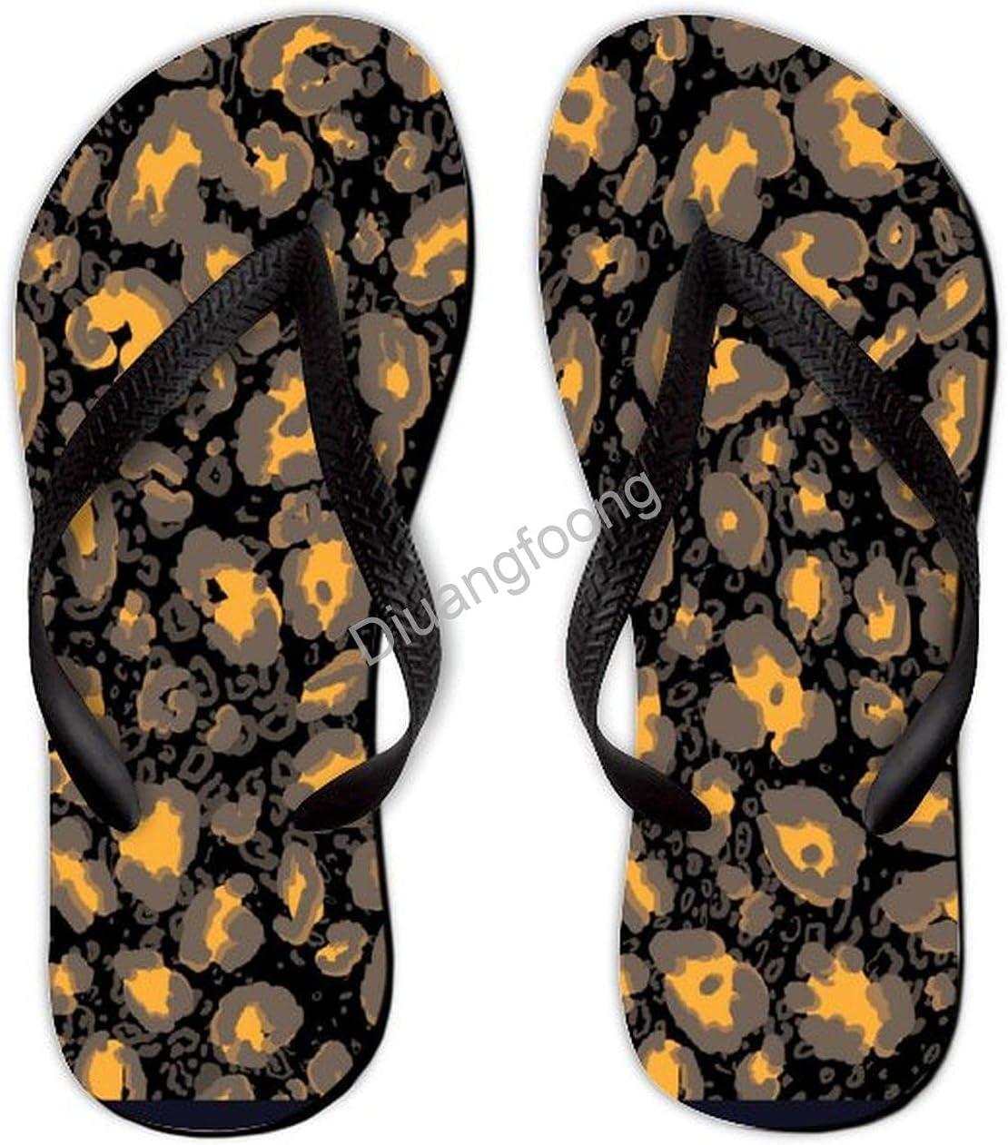 Leopard Flip Flop Beach Unique Thong Sandal Eva Sandal For Home Bathroom Party Black-Style3