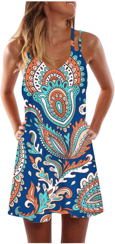 Toeava Women Summer Tank Dress,Womens Casual Bohemian Sleeveless Spaghetti Strap Print Dress Cocktail Beach Short Dress
