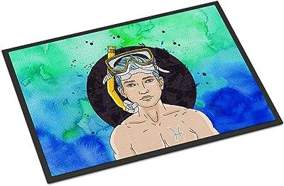 Caroline's Treasures Pisces Zodiac Sign Doormat, 24H x 36W, Multicolor