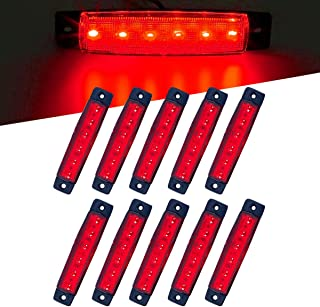 Vouke 10Pcs Red 6 LED Side Marker Indicators,Rear Tail Light,Underglow Kit, Wheel Well Lights Universal fits Trailer Truck Lorry HGV Bus Boat Rv Lorries Jeep SUV etc