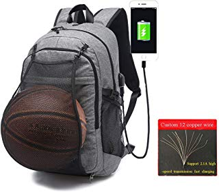Laptop Sports Backpack, Durable Outdoor Travel Bag Basketball Backpack - Soccer Backpack with USB Charging Port, Water Resistant College School Backpack for Women/Men, Fits 15.6 inch Laptop & Notebook