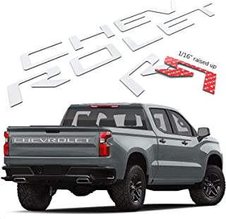 Funsport Tailgate Insert Letters - 3M Adhesive & 3D Raised Tailgate Letters for 2019 2020 Chevr Silverado Accessories (White)