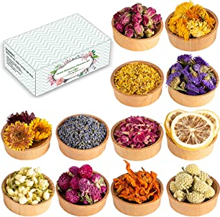 Dried Flowers, 12 Pack Natural Dried Flower Herbs Kit for Bath, Bomb, Soap, Resin, Candle Making, Include Rose Petals, Ros...