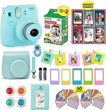 Fujifilm Instax Mini 9 Camera Bundle (Ice Blue) + Instant Camera Film 20 Sheets + Instax Case + Instax Camera Accessories Bundle, Albums, 4 Color Lenses, Selfie Lens, 6 Magnet Frames + 60 Stickers