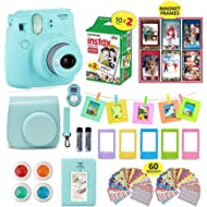 Fujifilm Instax Mini 9 Camera Bundle (Ice Blue) + Instant Camera Film 20 Sheets + Instax Case +...