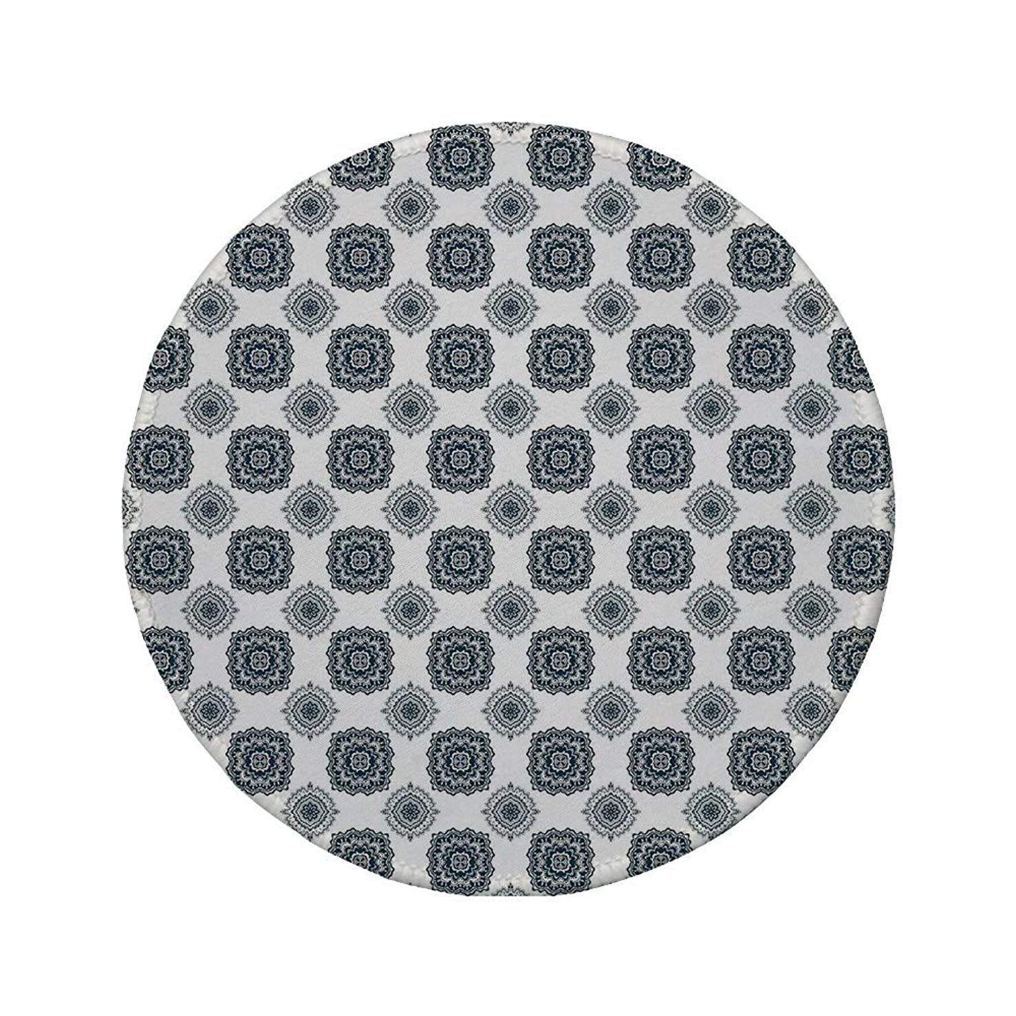 Non-Slip Rubber Round Mouse Pad,Geometric,Symmetrical Geometric Design Flora Pattern Abstract Nature Imagery Pale Tones Decorative,Indigo White,11.8