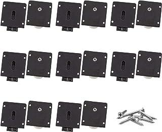 INCREWAY Möbeldörr rullsats, 8 set svart skåp skjutdörr rulle plast skjutdörr hjul hårdvarutillbehör dörr remskiva med skr...