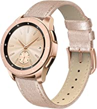 SWEES Genuine Leather Band Compatible for Galaxy Watch 42mm & Gear S2 Classic & Gear Sport, 20mm Thin Learther Bands with Quick Release for Galaxy Watch Active 2 Smart Watch 2019 Women Men, Rose Gold