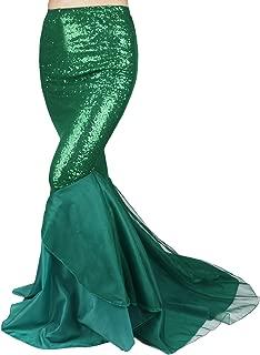 iiniim Sexy Women Mermaid Dress Halloween Costume Fancy Party Sequins Long Tail Skirt