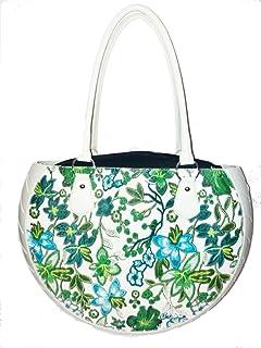 Ty's Bags , Damen Schultertasche Grün Floreale Verde L40 cm x H29 cm (con manici 50) x P 9 cm