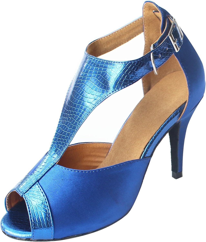 MsMushroom Woman's Satin and Pu Dancing Performance Latin shoes 3''heel,bluee