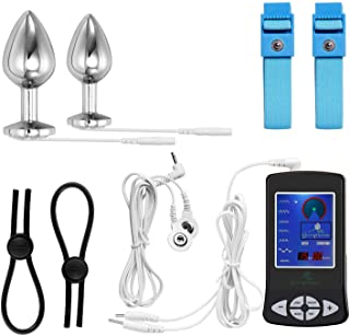 Electric Anal Plug and Penis Ring, Greenpinecone Luxury Electric Anal Plug Set 32 mm and 25 mm,Electric Shock Butt Plug for Nerve Stimulation, with 2 Pcs Adjustable Electro Sex Cock Rings and Wires