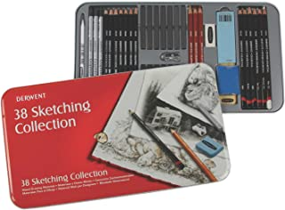 Derwent Sketching Collection Tin Set of 38 Drawing and Sketching Mixed Media with Accessories
