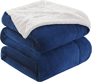 KAWAHOME Sherpa Fleece Blanket Super Soft Extra Warm Thick Winter Blanket for Couch Sofa Bed Queen Size 90 X 90 Inches Navy Blue