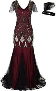 General Women 1920s Flapper Cocktail Maxi Long Gatsby Evening Dress Mermaid Formal Gown