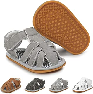 Baby Boy Sandals Summer Anti-Slip Rubber Sole First Walkers Shoes Infant Sandals for Toddler Girls(0-18 Months)
