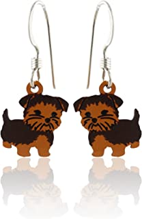 Sienna Sky Small Hand Painted Yorkie Dog Earrings, Sterling Silver Ear Wires, Yorkshire Terrier
