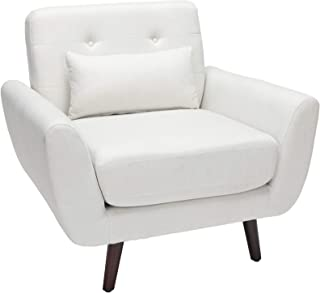 OFM 161 Collection Mid Century Modern Tufted Fabric Accent Chair with Arms and Lumbar Support Pillow, Walnut Legs, in Light Gray (161-FLC2-BGE)