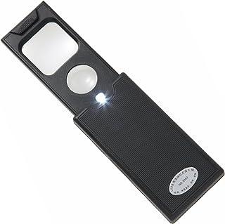 Phoenix カード ポケットルーペ 携帯用 引き出し式 LEDライト ブラックライト付 倍率5倍 45倍 超軽量 拡大鏡 長期保証書 精密作業に 宝石 メガネ ジュエリー 骨董品の鑑定