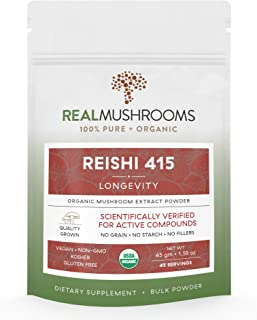 Reishi Mushroom Extract Powder by Real Mushrooms - Certified Organic - Ganoderma Lucidum/Ling Zhi - Immune Booster - 45g Bulk Reishi Mushroom Powder - Perfect for Shakes, Smoothies, Coffee and Tea