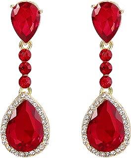Women's Wedding Bridal Crystal Teardrop Infinity Figure 8 Chandelier Dangle Clip-On Earrings