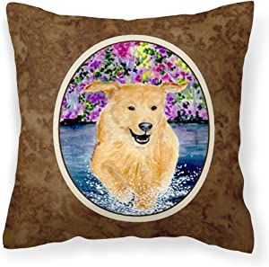 Caroline's Treasures SS8627PW1414 Golden Retriever Decorative Canvas Fabric Pillow, 14Hx14W, Multicolor