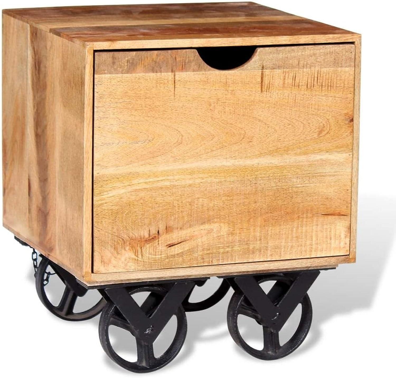 VidaXL Side Table with Drawer Wheels Mango Wood 40x40x45cm Home End Furniture