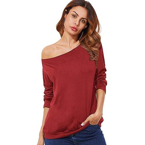 e8d0e86f560ab7 ROMWE Women s Raw Cut Off the Shoulder Long Sleeve Tee Shirt Top Blouse
