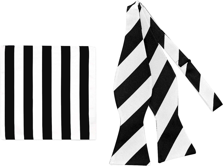 2 Piece Set: Jacob Alexander Men's 1-Inch Stripes School College Self-Tie Bow Tie and Pocket Square